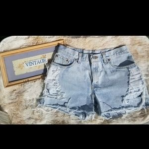 Levi's vintage 80s wash high waisted cutoff shorts